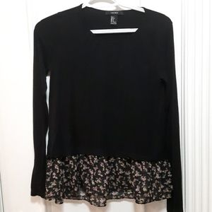 Black long sleeve t shirt with floral